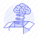 bounce, bouncing, box, brain, outside, spring, think, work icon