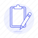 blank, clipboard, document, paper, pencil, task, work icon
