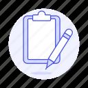 blank, clipboard, document, paper, pencil, task, work