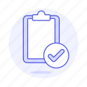 approved, check, checkmark, clipboard, complete, paper, ready, synced, task, work icon