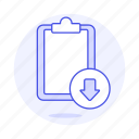 clipboard, download, paper, sync, task, work