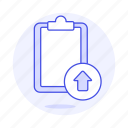 clipboard, paper, sync, task, upload, work