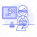 desk, pen, job, bulletin, female, planner, paper, stamp, half, office, board, employee, write, document, work