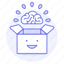 box, brain, happy, outside, smile, think, work