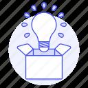 box, bulb, idea, light, outside, think, work