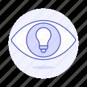 bulb, down, eye, idea, ideas, light, on, turn, up, vision, work icon