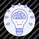 2, activity, brain, bulb, ideas, light, lightbulb, work icon