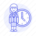 bonus, clock, deadline, extra, female, hours, overtime, stand, work, workload icon