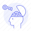 1, brain, braincase, creativity, key, open, potential, unlock, work icon