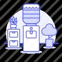 bottle, cabinet, cooler, dispenser, furniture, office, plant, pot, water, work icon