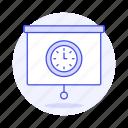 clock, presentation, projector, schedule, screen, time, work