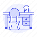 1, chair, coffee, desk, drawer, work, workspace icon