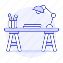 2, art, desk, drawing, lamp, paper, sketch, supplies, table, work, workspace icon