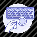 1, coffee, desk, keyboard, top, work, workspace icon