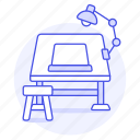 art, desk, drawing, lamp, paper, sketch, sketching, table, work, workspace icon
