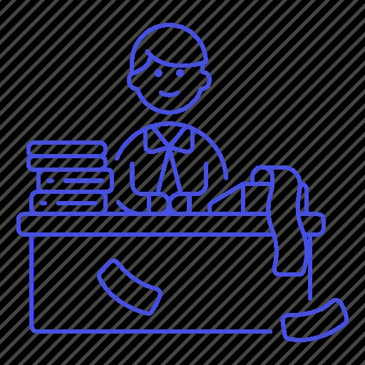 1, accountant, bookkeeper, calc, desk, folder, job, male, office, paper, print, ream, sit, work icon