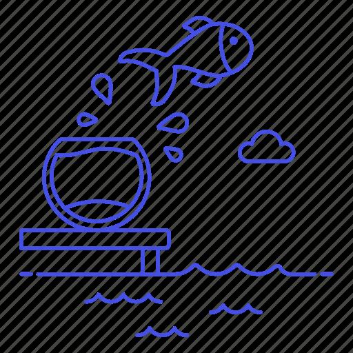 bowl, comfort, danger, effort, fish, fishbowl, motivation, push, risk, safe, work, yourself, zone icon