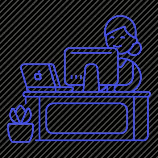 Mac, desk, design, job, female, work, employee icon - Download on Iconfinder