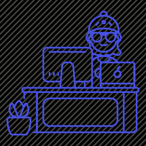 2, 3, code, design, desk, employee, female, freelance, home, job, laptop, mac, office, pc, sit, studio, work icon