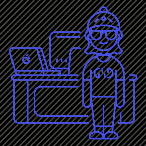 Mac, desk, design, pc, job, female, work icon - Download on Iconfinder