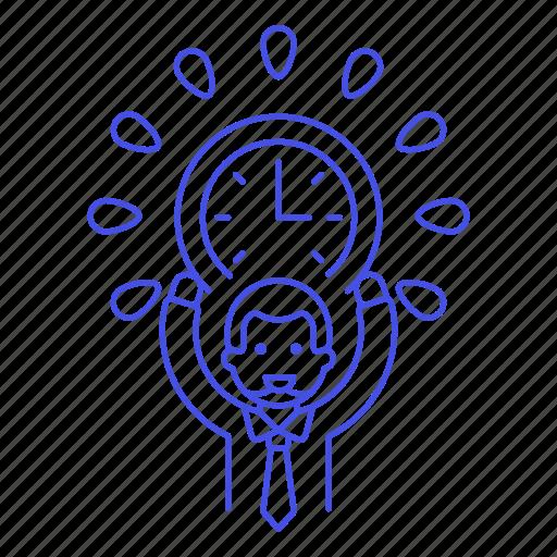 3, clock, deadline, employee, energized, half, male, punctuality, work, workload icon