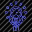 clock, deadline, employee, energized, female, half, punctuality, work, workload icon