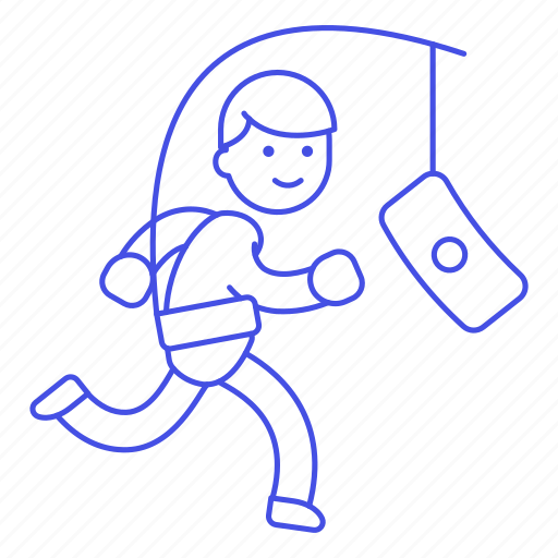 1, drive, extrinsic, male, metaphor, money, motivation, person, reward, run, stick, work icon