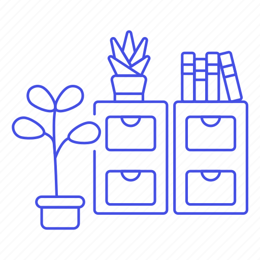 1, books, cabinet, drawer, file, furniture, office, plant, pot, work icon
