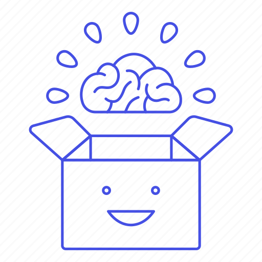Box, brain, happy, outside, smile, think, work icon - Download on Iconfinder