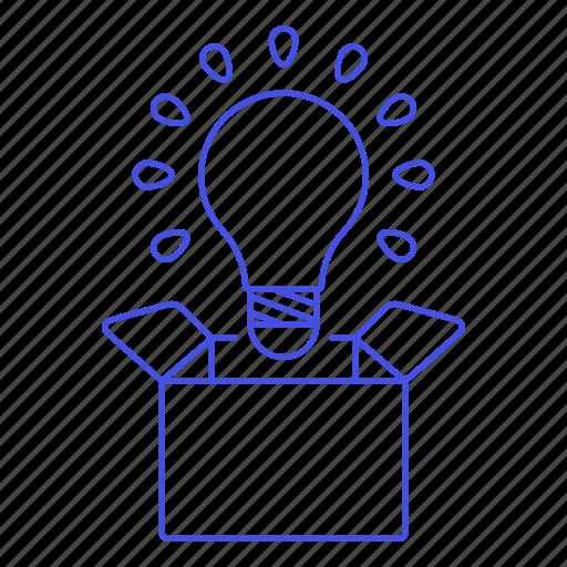 box, bulb, idea, light, outside, think, work icon