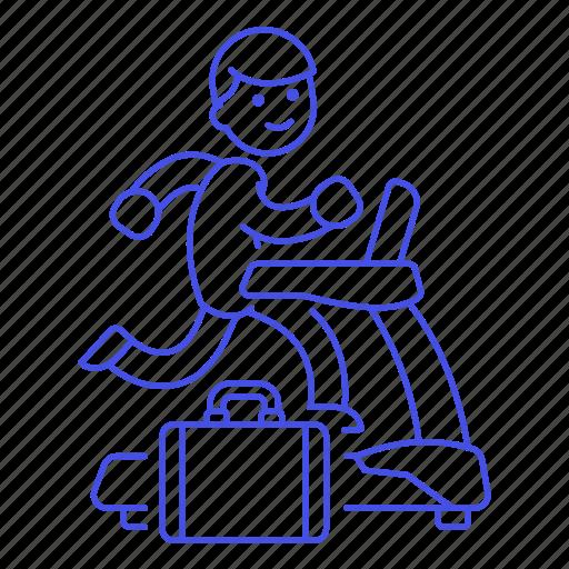 1, excercise, inspiration, intrinsic, male, motivation, reward, treadmill, work icon