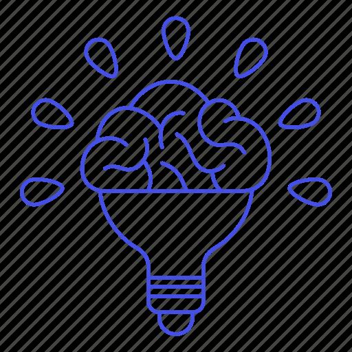 1, activity, brain, bulb, ideas, light, lightbulb, work icon