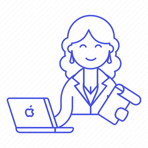 1, female, half, job, laptop, mac, manager, notebook, notepad, office, sit, small, work icon