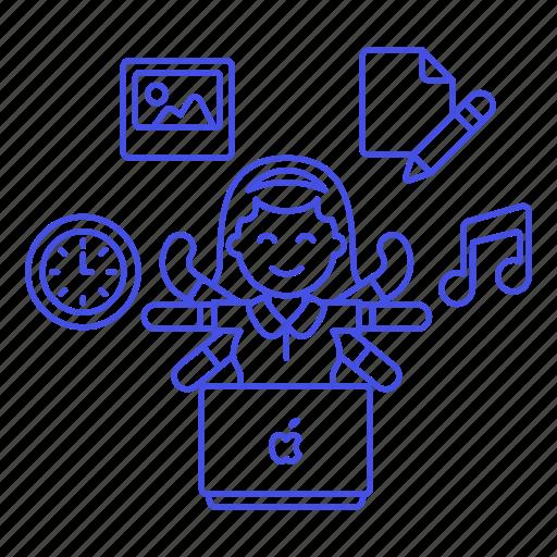 balance, clock, desk, entertainment, female, life, multitask, multitasking, music, paper, task, time, work icon