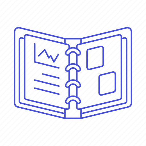 binder, craft, file, folder, office, open, paper, supplies, work icon