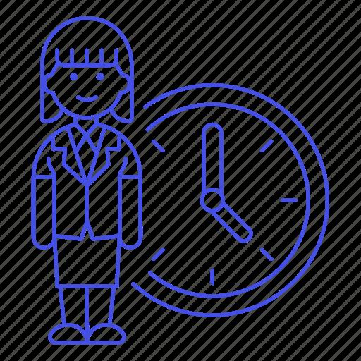 Bonus, clock, deadline, extra, female, hours, overtime icon - Download on Iconfinder