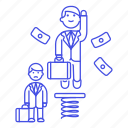 1, boost, development, growth, male, motivation, pay, promotion, rise, spring, work icon