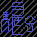 bottle, cabinet, cooler, dispenser, furniture, office, plant, pot, water, work