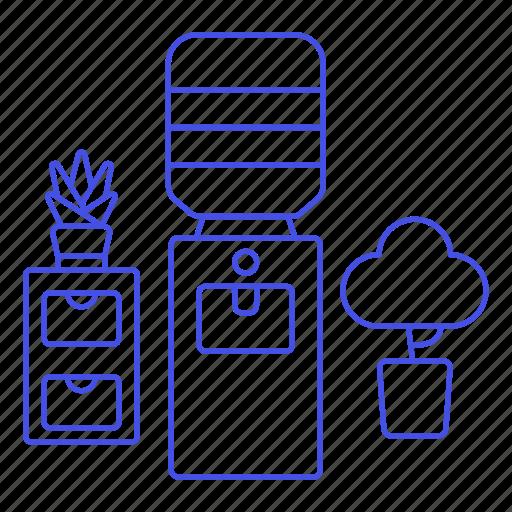 Bottle, cabinet, cooler, dispenser, furniture, office, plant icon - Download on Iconfinder