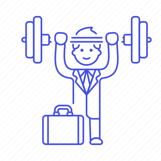 2, barbell, briefcase, exercise, male, motivation, strong, suit, work, workout icon