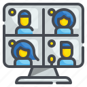 online, laptop, conference, communications, video, interview, meeting icon