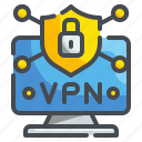 computer, connection, internet, laptop, network, technology, vpn icon