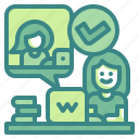 verify, check, worker, working, inspection, job, observation icon