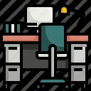 computer, desk, furniture, home, office, station, work