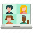 call, communication, conference, conversation, interview, meeting, video icon