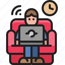 stay, cozy, home, remote, sofa, online, work