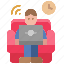 sofa, stay, home, remote, cozy, work, online