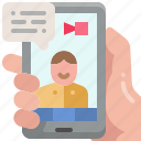 meeting, telecommunication, video, interview, call, smartphone, conference icon