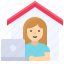 house, laptop, stay at home, work, work from home icon
