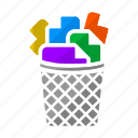 creative process, ideas, papers, process, trash, trash bin, trash can icon